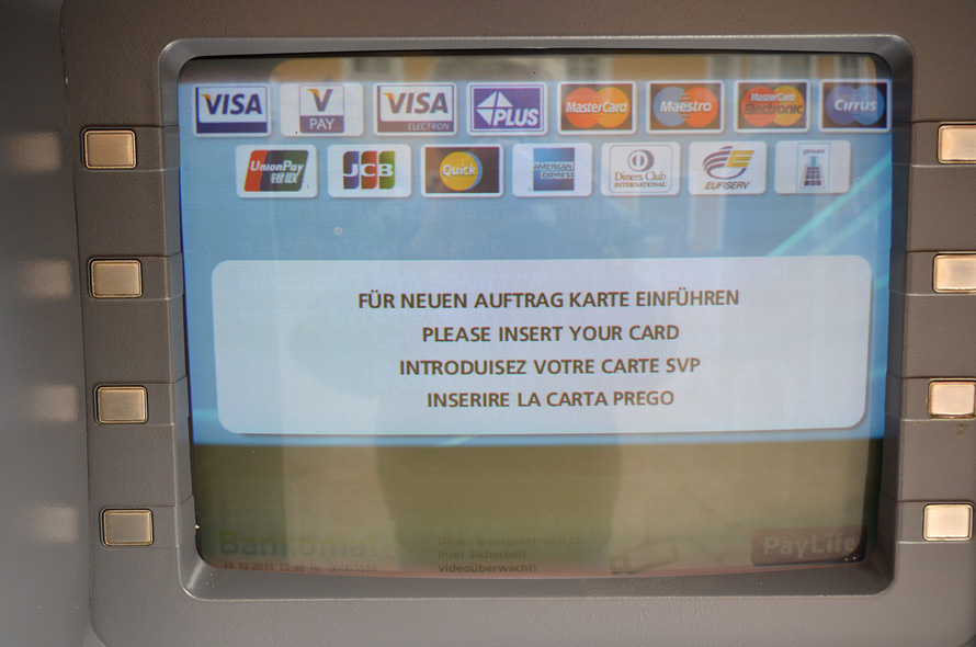 Austrian Bankomat screen