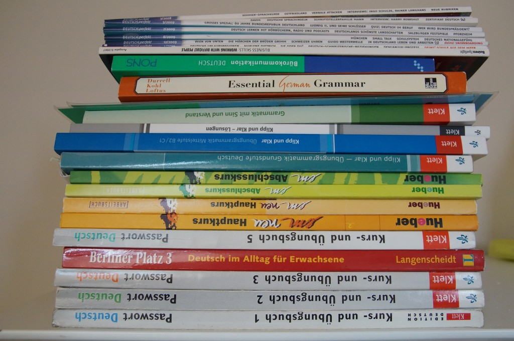 A glimpse of my German language text books. Photo credit: Jane Park