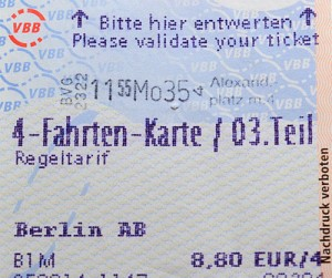 BVG validated ticket