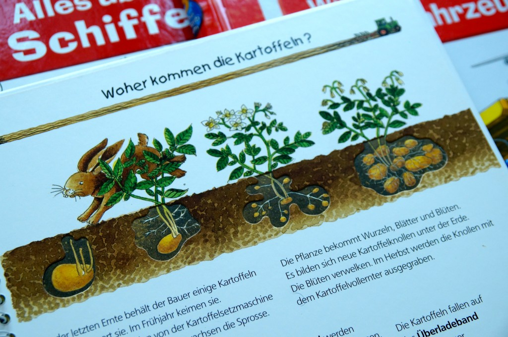 """Where do potatoes come from?"" This Wieso? Weshalb? Warum? ""Auf dem Bauernhof"" book will tell you exactly where."