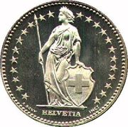 Helvetia on 2-franc coin