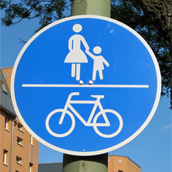 Bikes and pedestrians
