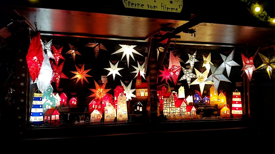 Colorful Christmas stars (Weihnachtssterne) in Bonn